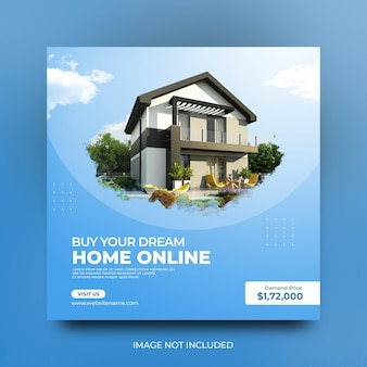 Modèle de publication sur les médias sociaux pour la promotion sociale de la maison moderne à vendre