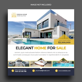 Modèle de publication sur les médias sociaux pour les publications instagram sur l'immobilier