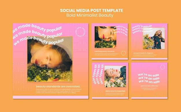 Modèle de publication de médias sociaux sur les produits de beauté biologiques