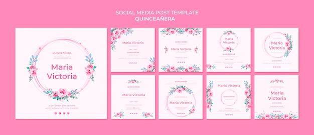 Modèle de publication de médias sociaux quinceañera