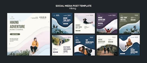 Modèle de publication de médias sociaux de randonnée