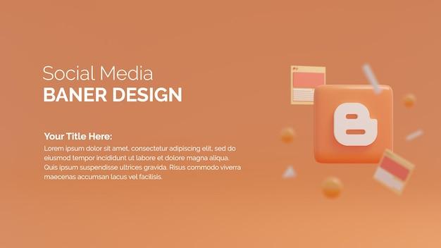Modèle de publication de médias sociaux de rendu 3d avec logo blogger