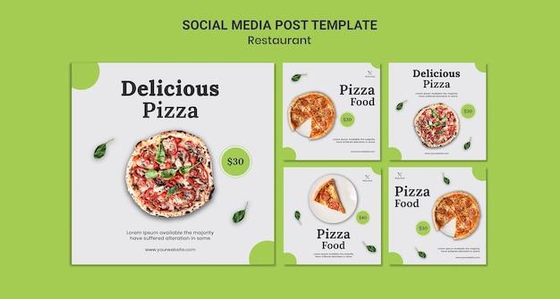 Modèle de publication de médias sociaux de restaurant de pizza