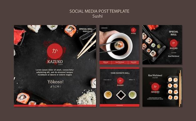 Modèle de publication de médias sociaux de restaurant de sushi