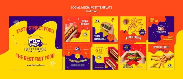 Modèle de publication sur les médias sociaux de restauration rapide