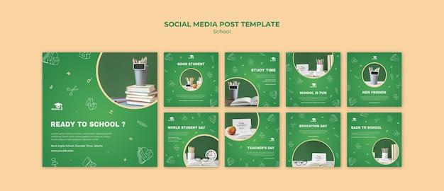 Modèle de publication sur les médias sociaux de retour à l'école