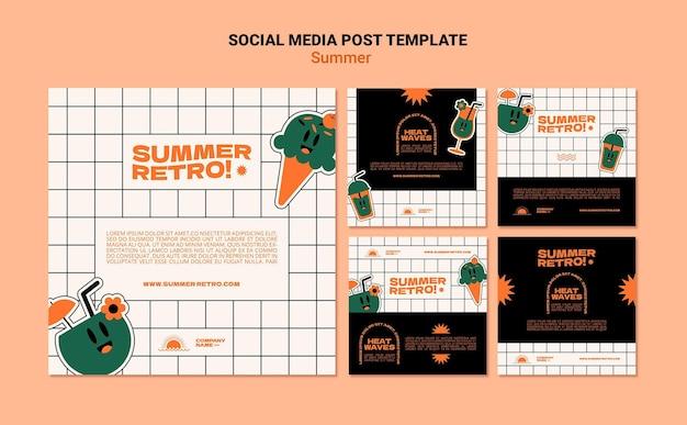 Modèle de publication de médias sociaux rétro d'été
