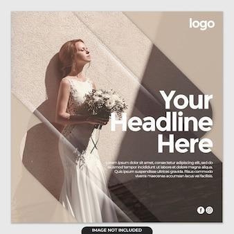 Modèle de publication de médias sociaux de robe de mariée