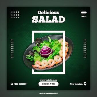 Modèle de publication de médias sociaux de salade délicieuse