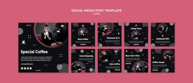 Modèle de publication de médias sociaux savoureux café