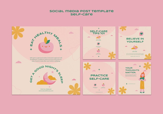Modèle de publication sur les médias sociaux sur les soins personnels