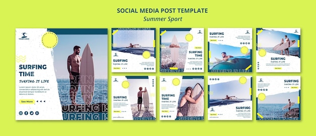 Modèle de publication de médias sociaux de sport d'été
