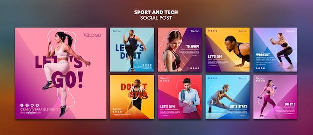 Modèle de publication de médias sociaux sport et technologie