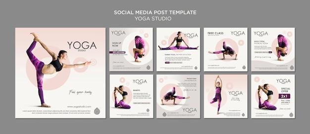 Modèle de publication de médias sociaux de studio de yoga