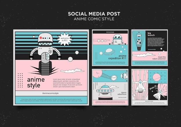 Modèle de publication sur les médias sociaux de style bande dessinée anime
