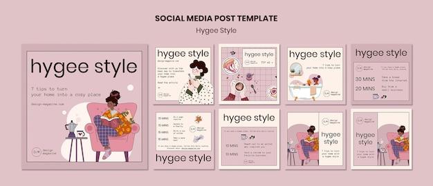 Modèle de publication sur les médias sociaux de style hygge