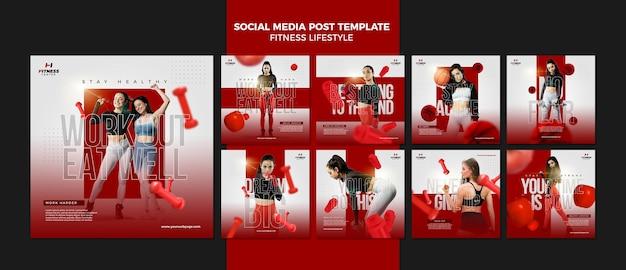 Modèle de publication sur les médias sociaux de style de vie de remise en forme