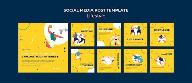 Modèle de publication sur les médias sociaux de style de vie