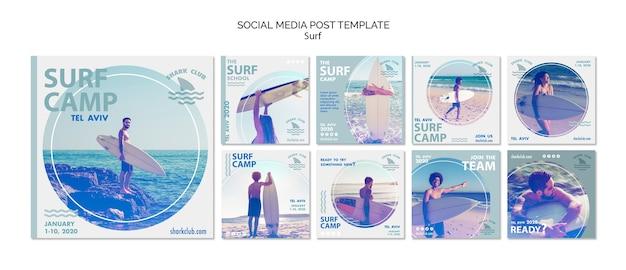 Modèle de publication de médias sociaux de surf