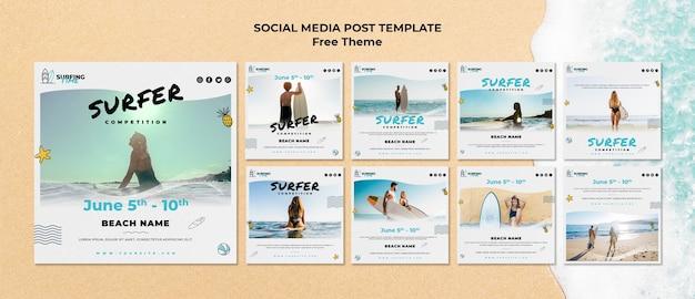 Modèle de publication de médias sociaux de surfeur