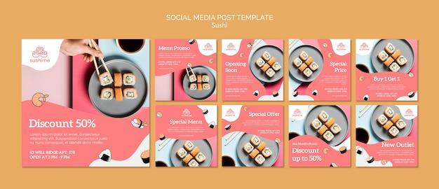 Modèle de publication de médias sociaux de sushi