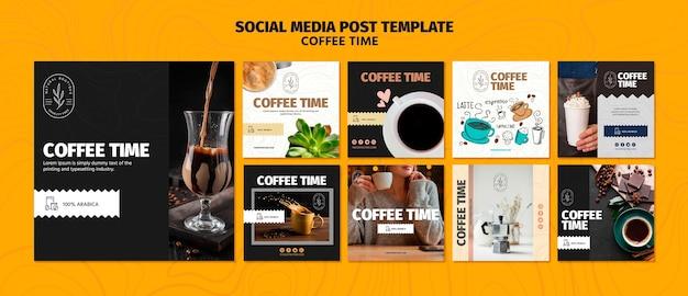 Modèle de publication de médias sociaux de temps de café et de chocolat