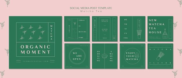 Modèle de publication de médias sociaux de thé matcha bio moment