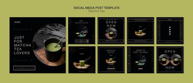 Modèle de publication de médias sociaux de thé matcha