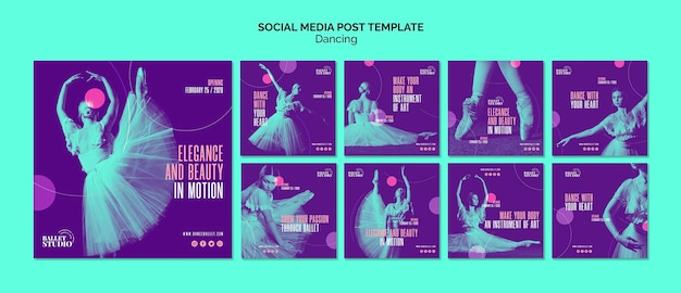Modèle de publication de médias sociaux avec thème de danse