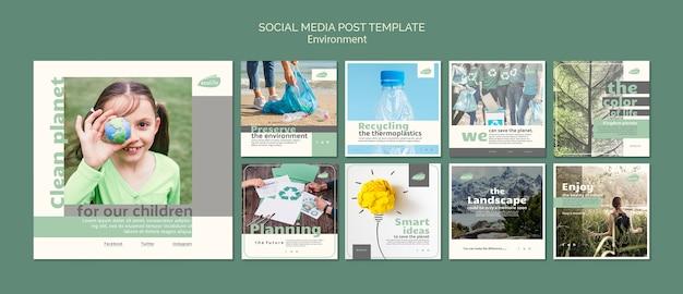 Modèle de publication sur les médias sociaux avec le thème de l'environnement