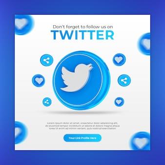 Modèle de publication de médias sociaux twitter 3d render icons