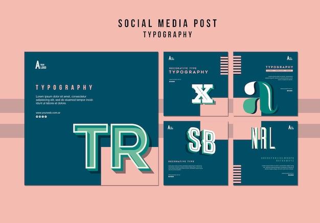 Modèle de publication sur les médias sociaux de typographie