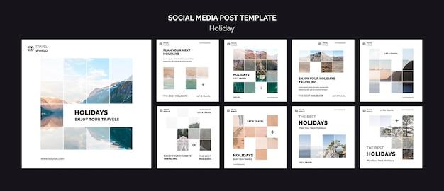 Modèle de publication de médias sociaux de vacances