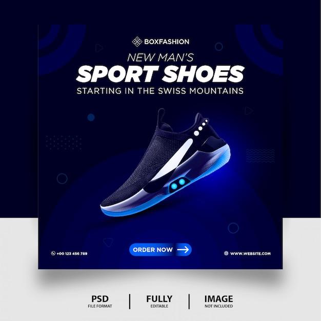 Modèle de publication de médias sociaux de vente de chaussures de sport