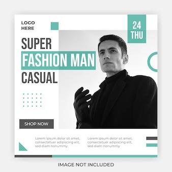 Modèle de publication de médias sociaux de vente décontractée pour homme de mode