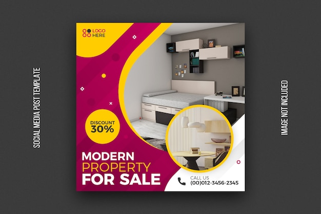 Modèle de publication de médias sociaux de vente immobilière