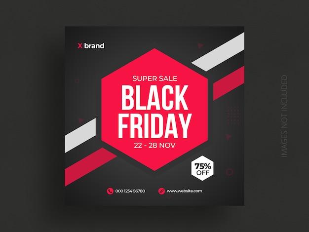 Modèle de publication de médias sociaux de vente vendredi noir et bannière web