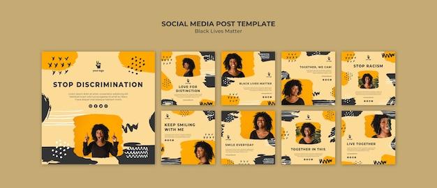 Modèle de publication de médias sociaux sur les vies noires