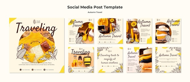 Modèle de publication de médias sociaux de voyage d'automne