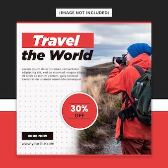Modèle de publication de médias sociaux de voyage premium