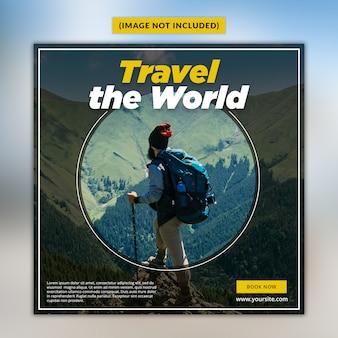 Modèle de publication de médias sociaux de voyage psd premium