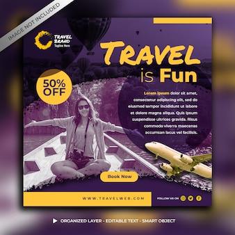 Modèle de publication sur les médias sociaux de voyage