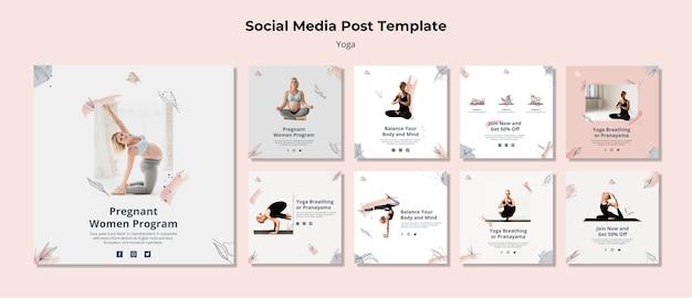Modèle de publication de médias sociaux de yoga