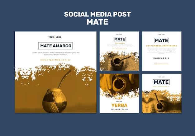 Modèle de publication de meia social concept mate