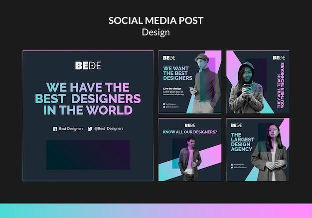 Modèle De Publication Des Meilleurs Designers Sur Les Réseaux Sociaux Psd gratuit