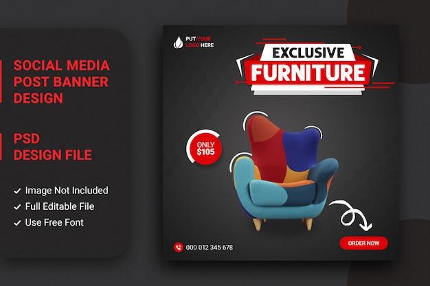 Modèle de publication de meubles vendant des médias sociaux sur instagram