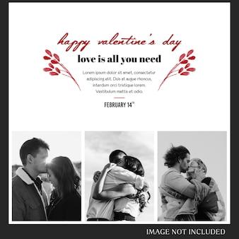 Modèle de publication et modèle de bannière instagram pour la saint-valentin