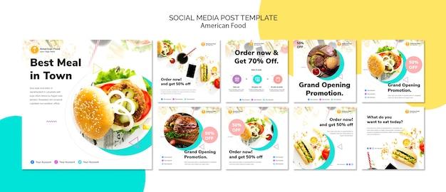 Modèle de publication de nourriture sur les médias sociaux