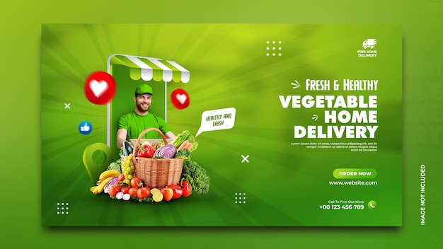Modèle de publication de promotion des médias sociaux de baner de livraison à domicile de légumes et d'épicerie