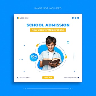 Modèle de publication sur les réseaux sociaux d'admission à l'école